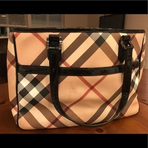 Burberry Black Nova Check Tote (Large)